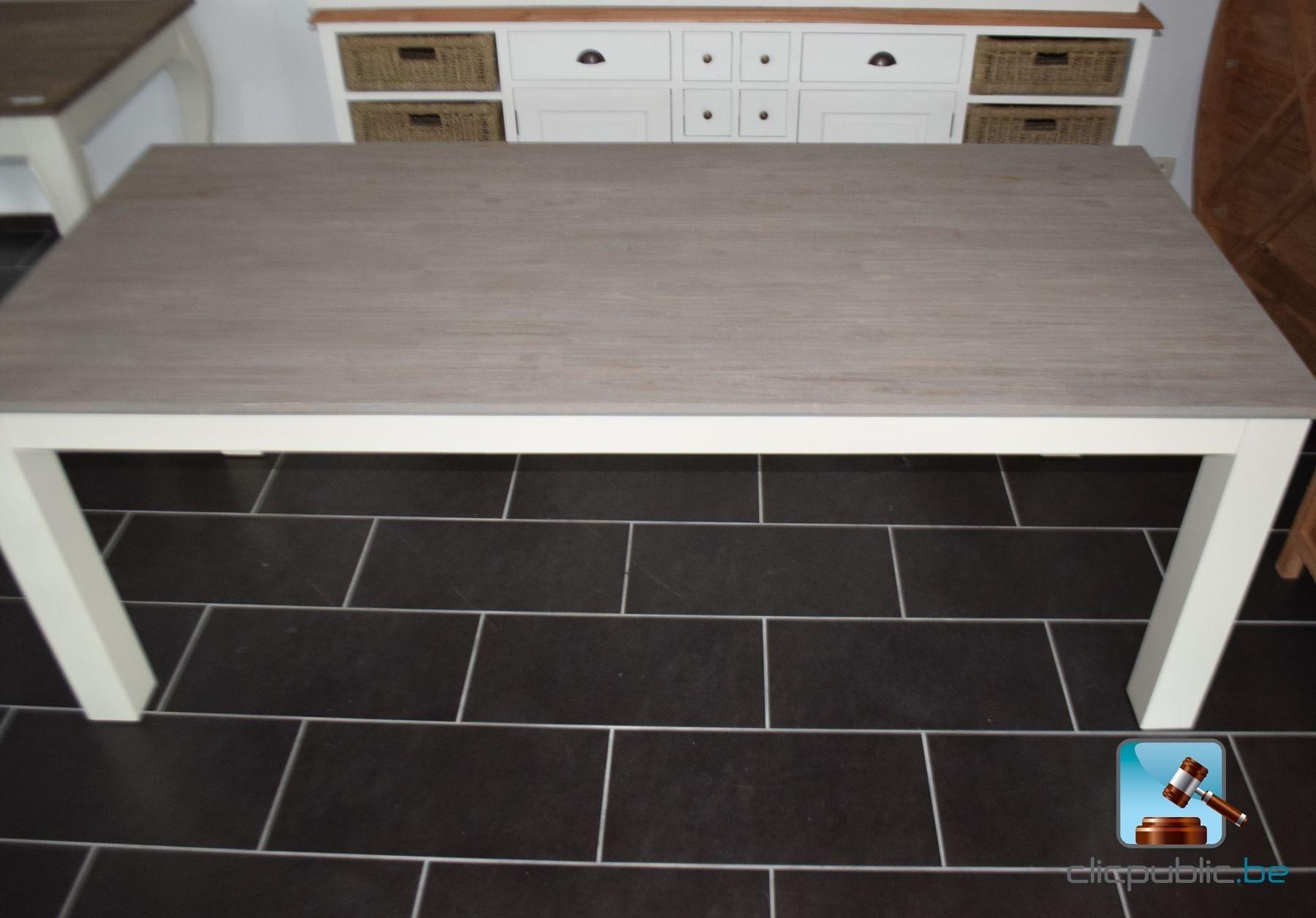 Table En Bois Rectangulaire - Table rectangulaire en bois peint lasuré gris (ref 11) for sale on clicpublic be
