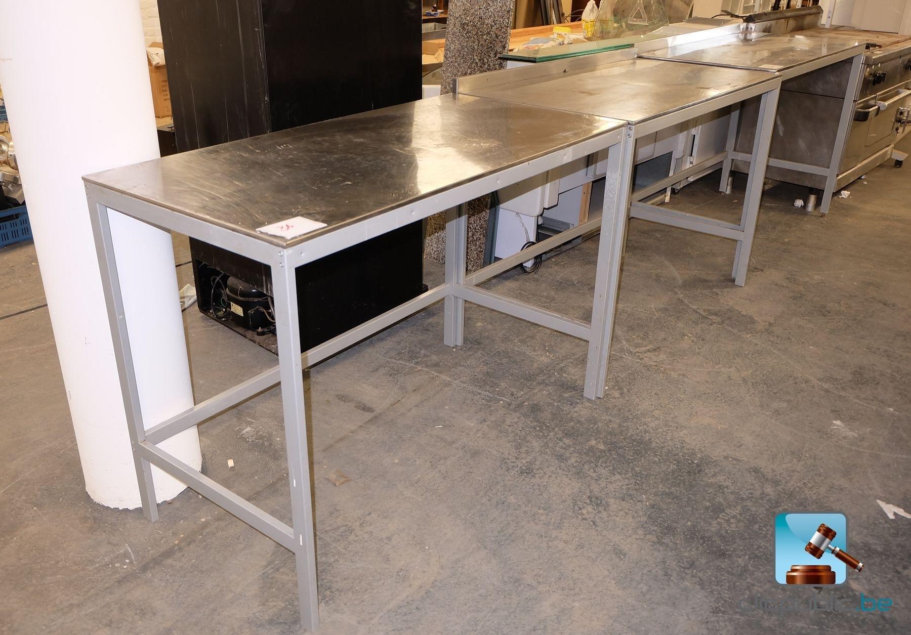 3 inox tables pietement en acier (ref 36) for sale on