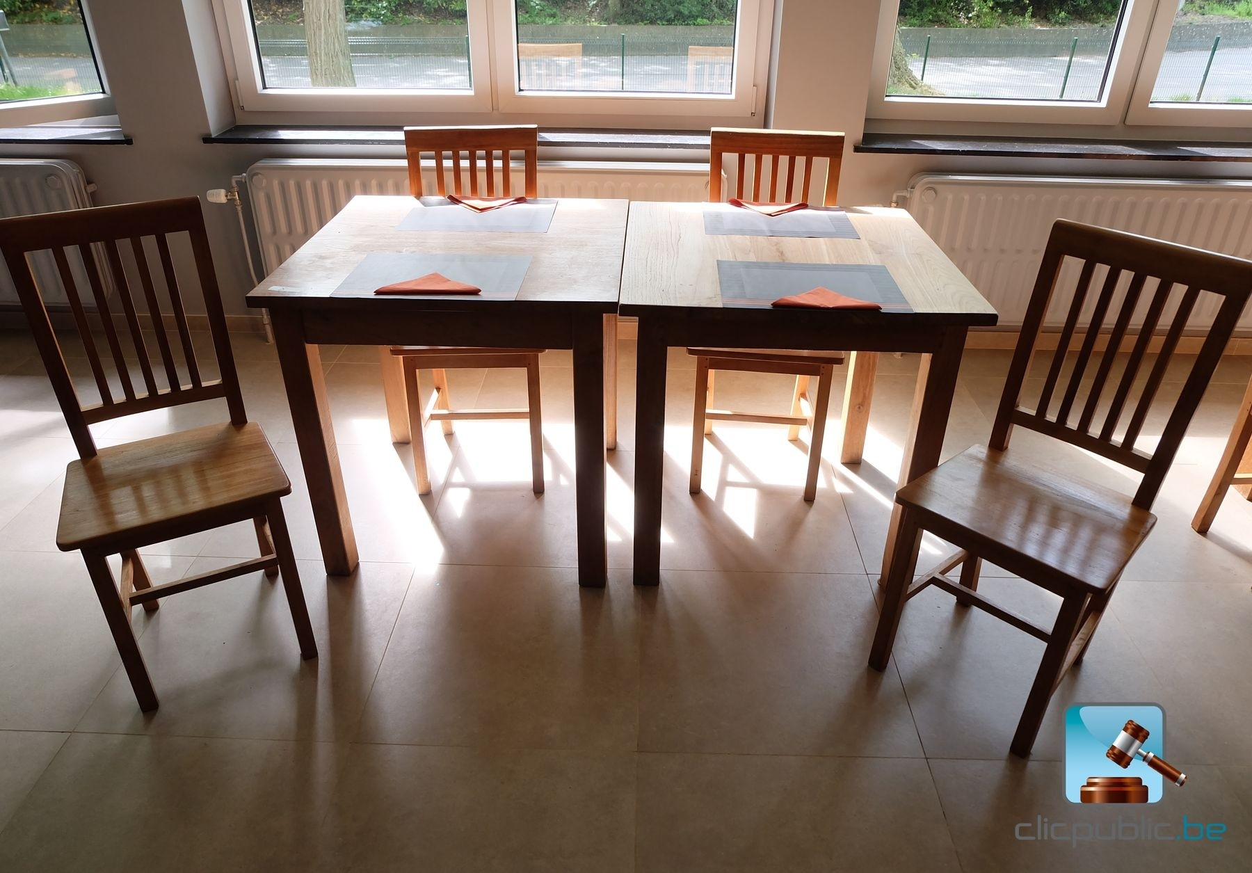 Furniture lot de mobilier en teck compos de 4 chaises et de 2 tables carr - Table et chaise en teck ...
